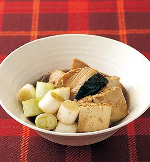 白ねぎとぶり、 焼き豆腐の煮物
