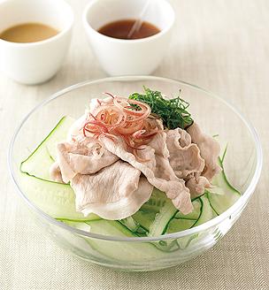 ひらひらきゅうりと豚しゃぶのサラダ