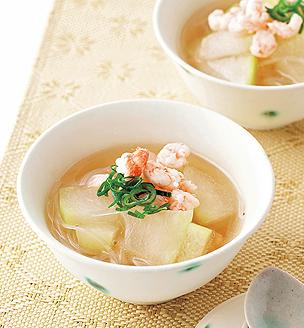 冬瓜と春雨、えびのスープ