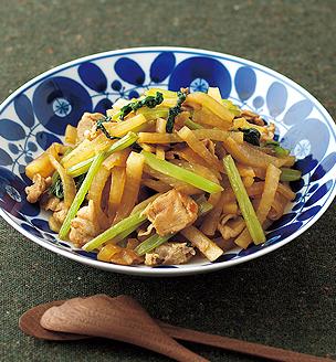 大根と小松菜、豚肉の炒め煮