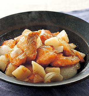 秋鮭と長いもの甘酢炒め