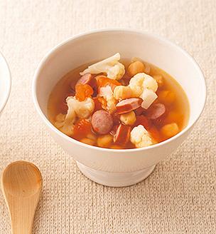 カリフラワーと豆のスープ