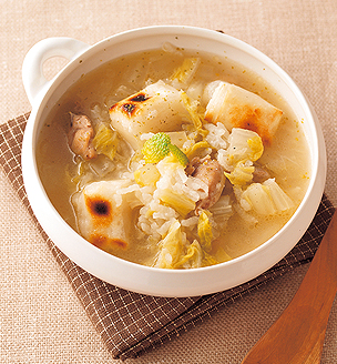 白菜と鶏肉の餅入り雑炊