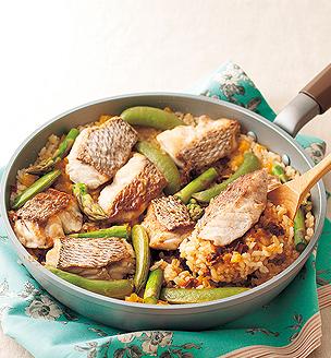 鯛と春野菜のフライパンピラフ