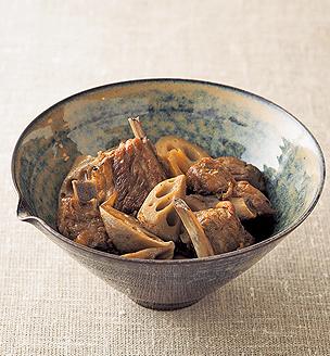 れんこんとスペアリブの黒酢煮