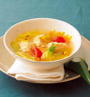 鶏団子のホットサワースープ