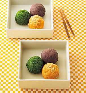 里芋ごはんの3色おはぎ