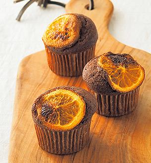オレンジとチョコのカップケーキ
