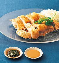 ゆで鶏のスタミナタレ2種添え
