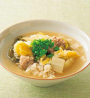 白菜漬けと鶏つくねの雑炊