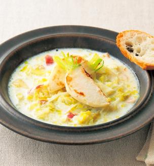 冬キャベツとかぶのミルクスープ