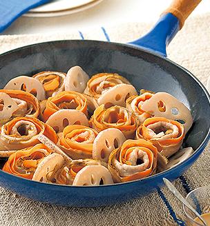 根菜と豚肉のフライパン蒸し