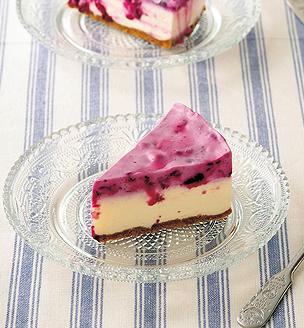 ブルーベリーのレアチーズケーキ
