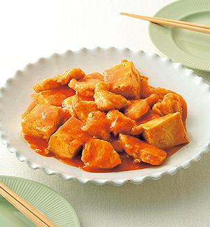 鶏胸肉と豆腐のチリソース煮