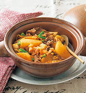 長芋と牛肉のキムチ煮