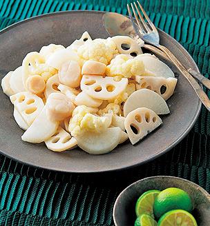 冬野菜と帆立貝柱のエチュベ