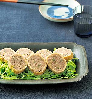 豚挽き肉の薄揚げ巻き
