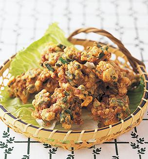 ニンニクの芽と納豆のかき揚げ