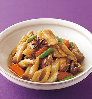 れんこんと鶏肉の中華風煮込み