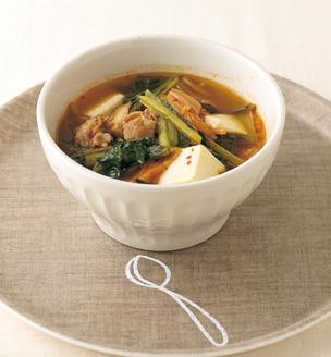 小松菜のチゲ風スープ