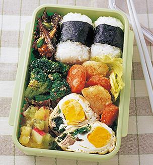 卵の袋煮とゆで野菜のおべんとう